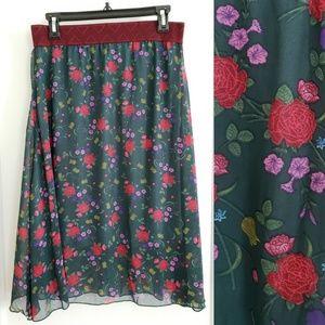 NEW LulaRoe | M Lola green red floral skirt